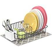 Dish Drying Rack, F-color Rustproof Dish Rack with Utensil Holder, Wire Dish Drainer with Microfiber Dish Drying Mat Dish Holder for Kitchen Countertop, 13.8 x 10.6 x 3.5 inch, Black