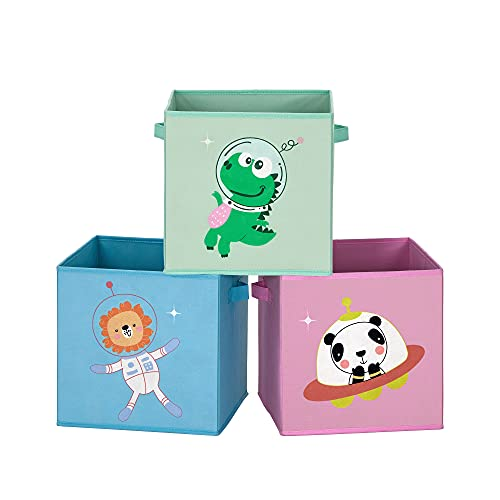 SONGMICS Caja organizadora Tela, Caja almacenaje Infantil, Juego de 3, Organizadora Juguete, Plegables con Asas, para Cuarto Infantil, 30 x 30 x 30 cm, Tema Astronauta, Azul, Verde y Rosa RFB703Y03