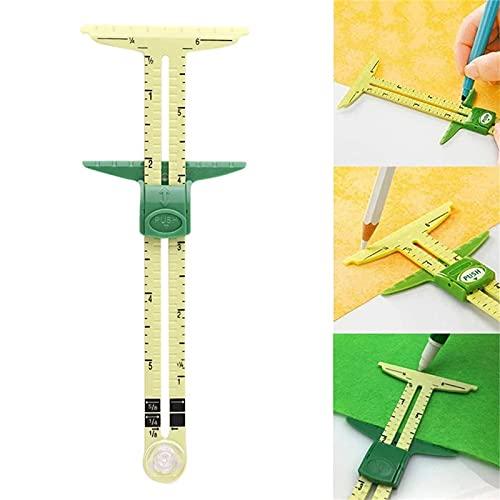 Herramienta de medición de costura de calibre deslizante 5 en 1, calibre deslizante de plástico en forma de T, prácticos clips de regla de calibre de dobladillo para coser, acolchar, proyectos (A)