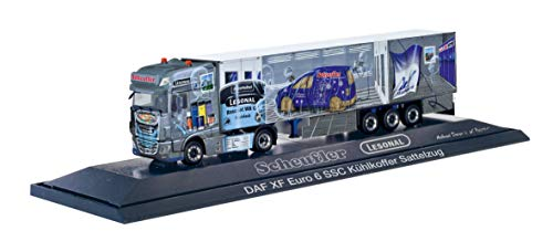 herpa 121972 DAF XF SSC Facelift Kühlkoffer-Sattelzug Scheufler/Lesonal Auto/LKW in Miniatur zum Basteln Sammeln und als Geschenk, Mehrfarbig