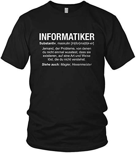 Informatiker Wikipedia - Job Spruch Motto Beruf Geschenk Motiv - Herren T-Shirt und Männer Tshirt, Größe:M, Farbe:Schwarz