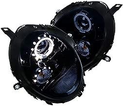 For Mini Cooper Glossy Black LED Halo Rim Projector Headlights Smoke Lens Headlamps