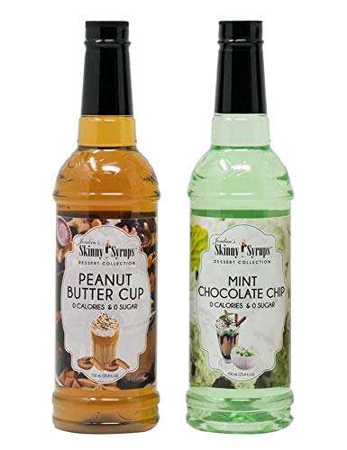 Jordan's Skinny Syrup Mint Chocolate Chip and Peanut Butter Cup Flavoring 25.4 fl oz each