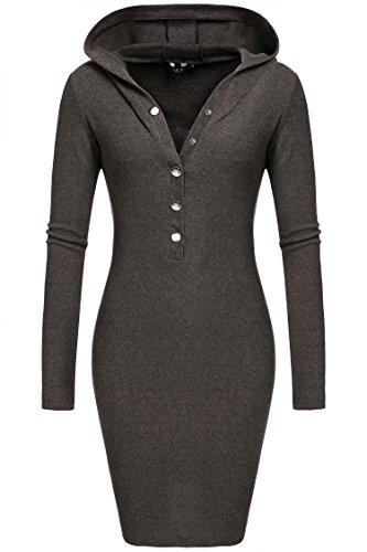 CRAVOG Damen Plus Size Kleid elegant Mit Kapuze Dress Grau 6 Größen (S/M/L/XL/XXL/XXXL)