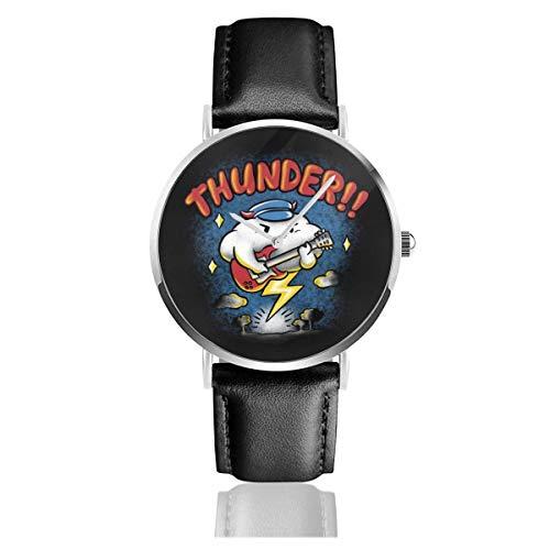 Unisex Thunder Raincloud Relojes de Guitarra eléctrica Reloj de Cuero de Cuarzo...