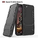 Ptny Coque Huawei Y5 2018 / Honor 7s, 2 en 1 Anti-Choc Silicone TPU+PC Dual Layer Hybride Tough Armor Etui, Protection Cover Bumper avec Kickstand pour Huawei Y5 2018 / Honor 7s [Noir]