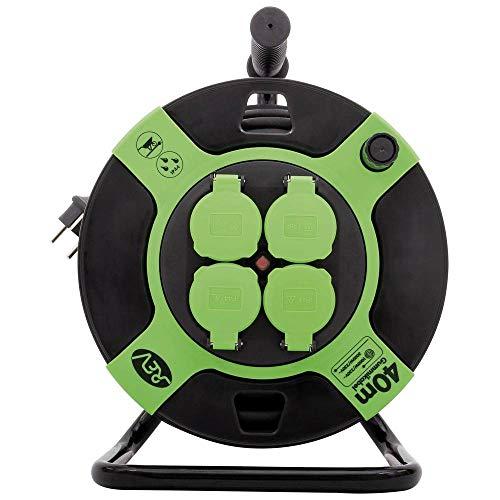 REV Kabeltrommel Kunststoff 40m IP 44 4-Fach schwarz grün