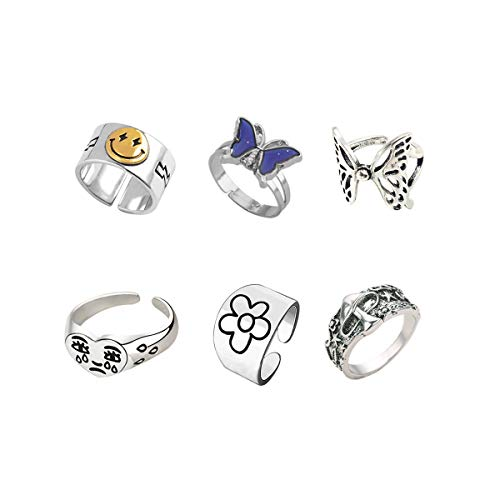 6pcs Smiley Crying Face Knuckle Ring Set Chunky Adjustable Butterfly Vintage Silver Mushroom Star Flower Ring Pack for Women