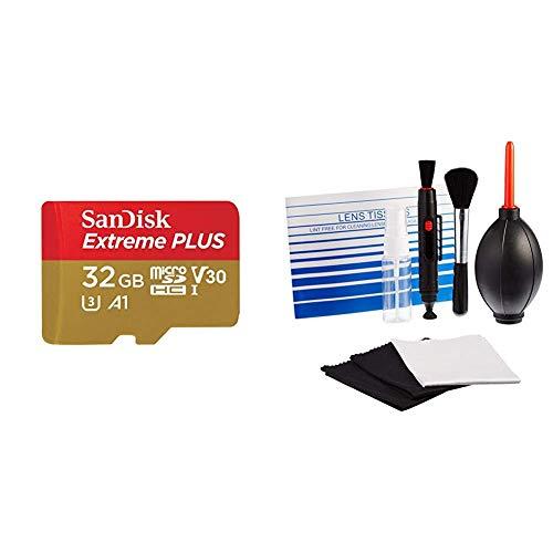SanDisk Extreme Plus 32 GB microSDHC Speicherkarte + SD-Adapter bis zu 100 MB/Sek, Gold/Rot, Class 10,U3, V30, A1 & AmazonBasics - Reinigungsset für DSLR-Kameras und empfindliche elektronische Geräte