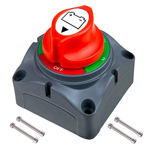 Interruptor de batería de 12 V 24 V 48 V, interruptor de batería 1-2 both OFF, interruptor principal de 300 A, resistente al agua, para coche, camión, barco, caravana, moto