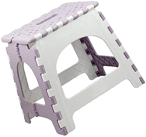 10.5 Inch Portable Folding Step Stool with Handle, Premium Non-Slip Bathroom Plastic Chair, Heavy-Duty Compact Footstool, Holds Up to 250 LBS (27cm, Blue/Purple)