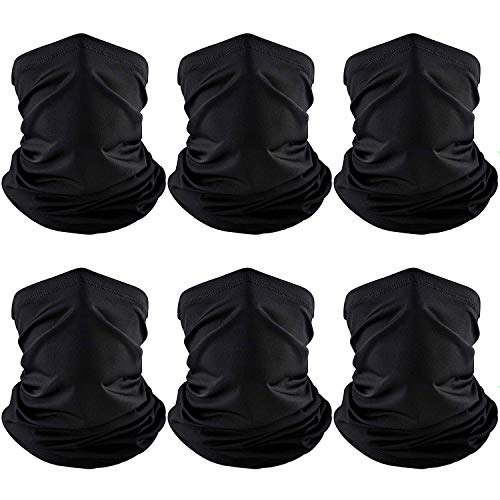 Summer Face Cover Scarf UV Protection Neck Gaiter Sunscreen Breathable Bandana (Black, 6)