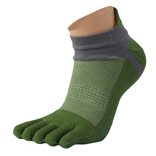 1paio Uomo Calze, tefamore Mesh Meias Sport Running cinque dita Toe Socks, verde