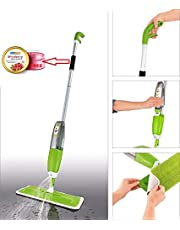 HOPz Multifunctional Quick and Easy Stainless Steel Microfiber Floor Cleaning 360 Degree Spray Mop with Removable Washable Pad (Green, Free Size)