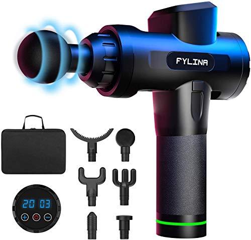 FYLINA Massagepistole, Massage Gun Massagegerät mit 20 Geschwindigkeiten, LED-Anzeige-Touchscreen Massage Gun, elektrisches Handmassagegerät mit 6 Massageköpfen für Nacken Schulter Rücken