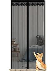 Magnetisch Vliegengaas,Magnetisch Horgordijn Tegen Insecten Magneten van Boven Tot Onderafdichting Sluit Automatisch,Houdt Frisse Lucht Binnen,Insecten Buiten,Black,90x240cm(35.4x94.5in)