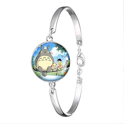Maneray Mein Nachbar Totoro Silber Farbe Armband Glas Cabochon Kette Armreif Anime Schmuck Accessoires für Mädchen
