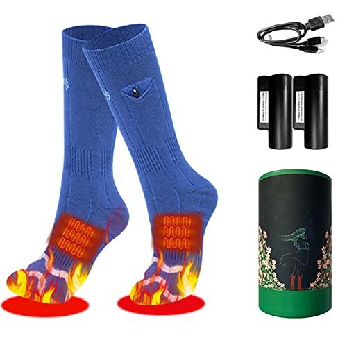 fuguzhu Calcetines calefactables eléctricos, cómodos calcetines térmicos, recargables, con 3 ajustes de calor, calentamiento invisible, para esquí, camping (azul)