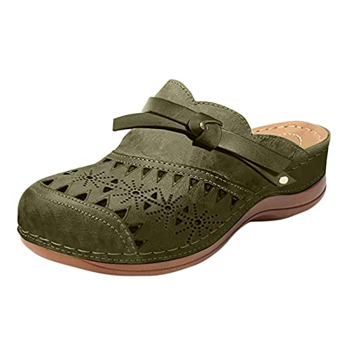 Damen Hausschuhe Sandalen Beach Strandsandale Bequem Pantoffeln Kuschelige Home Indoor Outdoor Slippers Freizeit(1-Grün/Army Green,39) 1406