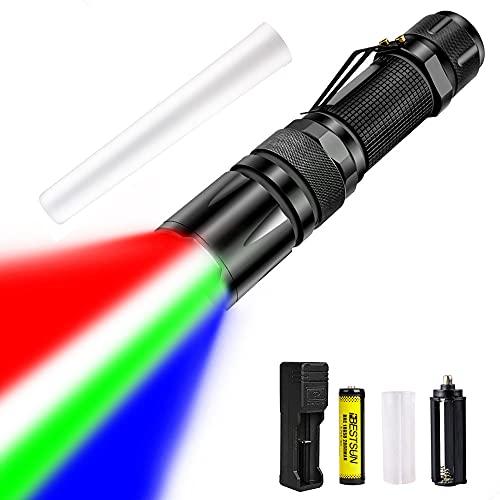 Linterna LED de 4 Colores en 1, Linterna Táctica de 1000 Lúmenes con Luz Blanca/Azul/Verde/Roja, Zoom Telescópico, Linternas de Varita de Señal Impermeables para Pesca, Camping, Senderismo