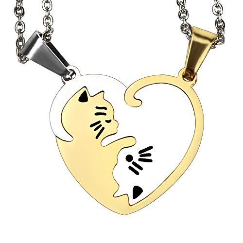 2 Piezas Pareja Collar Suyo Yin y Yang Tai chi Rompecabezas 2 Gatos Corazón a Juego Colgante para Parejas Amistad San Valentín Regalos Set (Astilla y Oro)