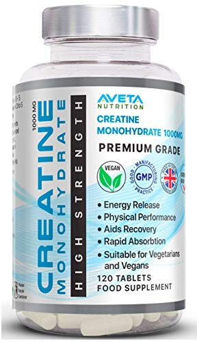Creatine Monohydrate Tablets 100% Pure - 1000mg |Muscle Gain| Pre Workout Tablets (120 Bottle)