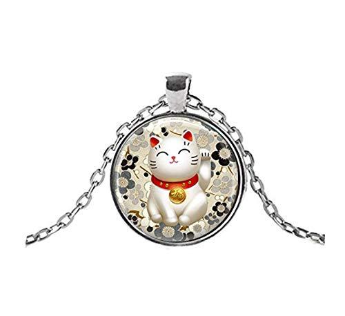 Sunshine Collar de Gato de la Suerte, Negro y Gris Maneki Neko Colgante de Arte japonés, Adornos de cúpula de Vidrio, Regalos para Ella