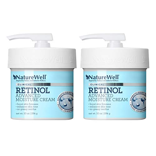 NATUREWELL Retinol Advanced Moisturizing Cream for Face and Body, Pack of 2 (10 Oz each)