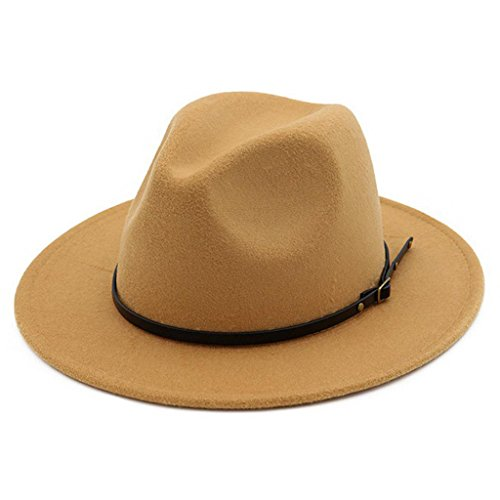 Lisianthus Women Belt Buckle Fedora Hat Camel