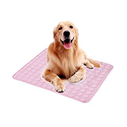 N/A Anione Kühlmatte 100x70,Groß Kühlmatte für Hunde Katzen Seide Matte Kühldecke Kissen für Hundehütte Sofa Bett Boden Autositze Kühlung(100 * 70CM,Pink)