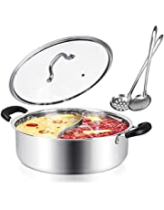 Kerykwan Food Grade 18/10 Stainless Steel Shabu Shabu Hot pot with Divider&Lid for Induction Cooktop Gas Stove Dual Sided Soup Cookware with 2 Soup Ladles (13 inch)