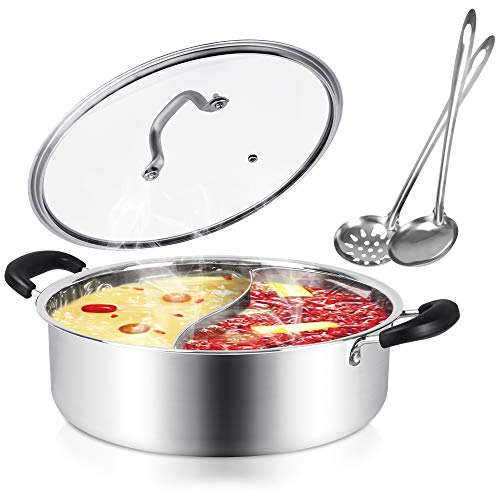 Kerykwan 304 Food Grade Stainless Steel Shabu Shabu Hot pot with Divider&Lid for Induction Cooktop Gas Stove Dual Sided Soup Cookware with 2 Soup Ladles (13 inch)
