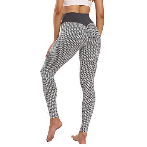 Voqeen Pantalones de Adelgazantes Mujer Leggins Reductores Adelgazantes Leggings de Yoga Tie-Dye Anticeluliticos Cintura Alta Mallas Fitness Push Up para Deporte Mallas (D - Gris Claro, M)