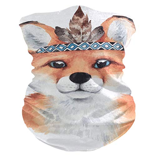 LZXO - Bandana para el cuello, diseño de zorro, retrato tribal sin costuras, para exteriores, pasamontañas, para protección contra el polvo, el viento y el sol