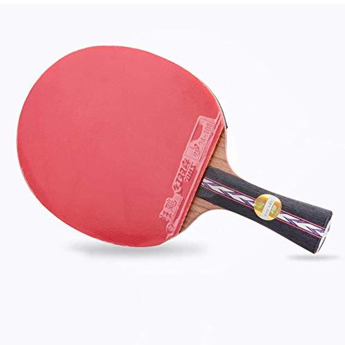 KCGNBQING Mesa de Tenis de Mesa Profesional, Competencia Ping Pong Raqueta con Estuche, 5 Capas de Madera Pura / 7 Estrellas/Mango Corto
