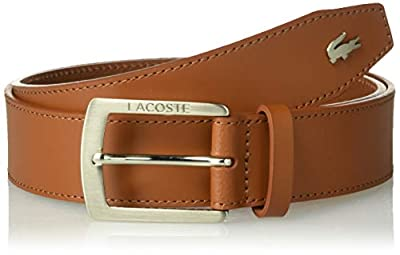 Lacoste Men's Thick Buckle Belt, Tan, 36