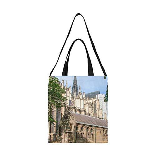 Farbige Leinentaschen für Kunsthandwerk Lange Geschichte Amiens Cathedral Church Leinwand Umhängetaschen Lebensmittel Einkaufstaschen Wiederverwendbarer Druck Große, einfache Schulter Umhängeband Ar