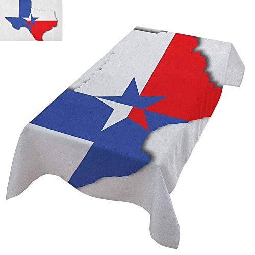 """Zara Henry Texas Star Pink Rectangular Tablecloth Outline of The Texas Map American Southwest Austin Houston City Suitable for tablecloths, Styles and Sizes 60""""x90"""" Vermilion White Violet Blue"""