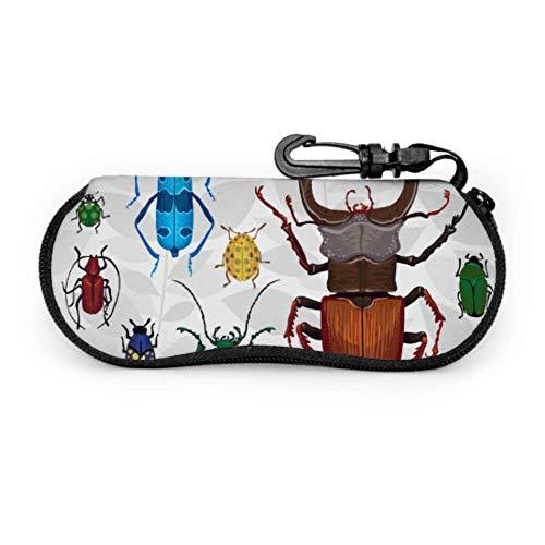 Fundas de gafas Varios de ojo de escarabajo pequeño Ultra Ligero Neopreno con Cremallera Almacenaje Lente Suave Sunglasses Case 8 * 17cm