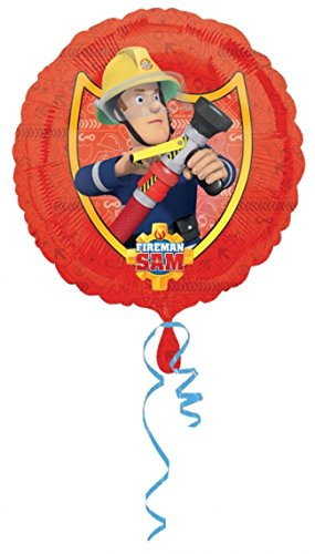 Folieballon, brandweerman Sam, voor kinderverjaardag of themafeest, folies ballon, party, helium, decoratie, ballongas, motto brandweer