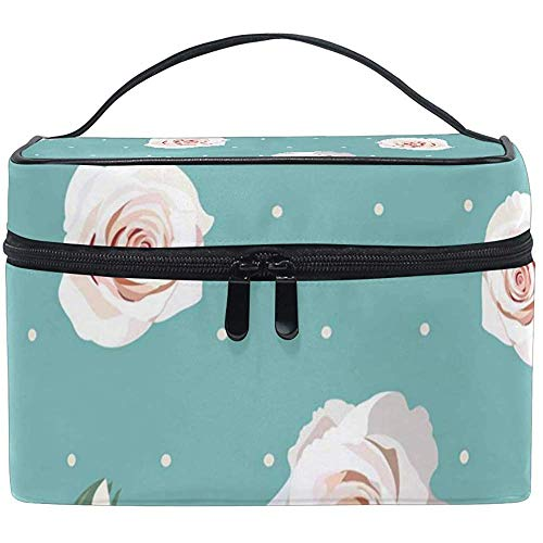 Sac cosmétique, Roses Blanches sur Le Bleu Organisateur de Maquillage de Voyage Sac Cosmetic Case Portable Train Case