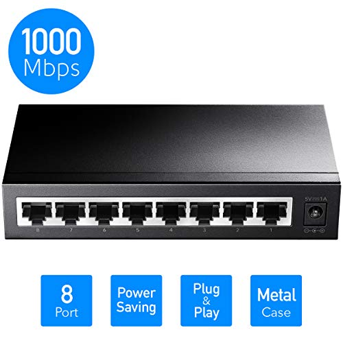 Cudy GS108 8-Port Gigabit Netzwerk Switch (bis 2000 MBit/s, geschirmte RJ-45 Ports, Metallgehäuse, optimiert Datenverkehr, IGMP-Snooping, unmanaged, lüfterlos) schwarz metallic