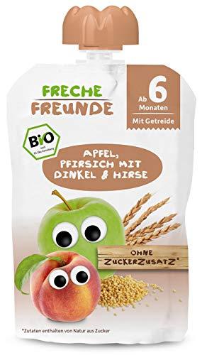 FRECHE FREUNDE Bio Beikost Quetschie Apfel, Pfirsich mit Dinkel & Hirse, Fruchtmus mit Getreide im Quetschbeutel für Babys ab dem 6. Monat, vegan, 6-er Pack (6 x 100 g)