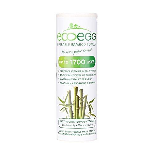Ecoegg Serviettes réutilisables en Fibres de Bambou Blanc