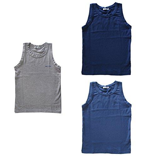 3 canotte bimbo/ragazzo spalla larga cotone bielastico ENRICO COVERI art. ET4002 (blu/jeans/grigio, 11/12 anni)