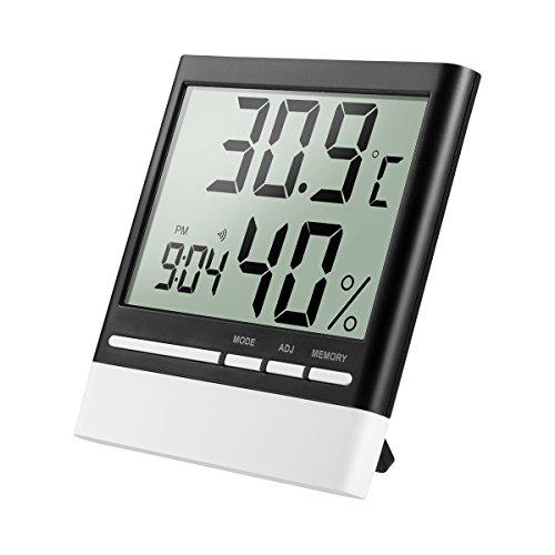 isermeo Termómetro Higrometro Digital con Gran LCD Pantalla Medidor Temperatura y Retroiluminación Azúl Interior Monitor de Humedad Temperatura con Medidor y Despertador