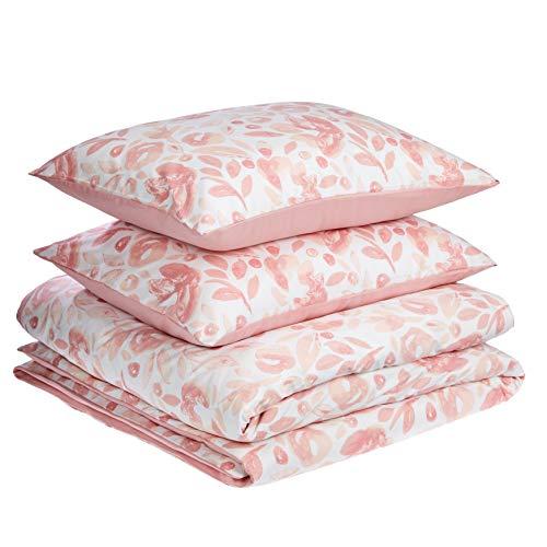 AmazonBasics Premium Microfibre Duvet Cover Set - 200 x 200 cm / 50 x 80 cm, Watercolour Pink