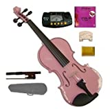 Merano 4/4 Full Size Acoustic Pink Violin with Case and Bow+merano Mt60 Metro Tuner+extra E String+2 Bridges+rosin