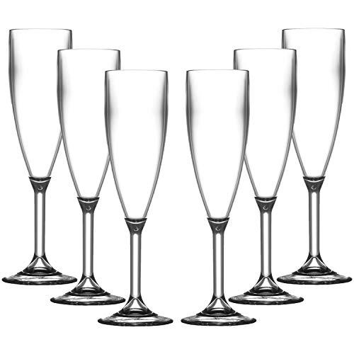 Unbreakable Reusable Polycarbonate Plastic Large White Wine Glasses set 4 Realistic Alternative to Glass 300ml to rim Height 18.8cm, Max Diameter 8.1cm