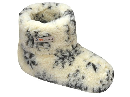 BeComfy Warme Hausschuhe Damen Herren Hüttenschuhe aus Schafwolle (42, Weiß und Grau)
